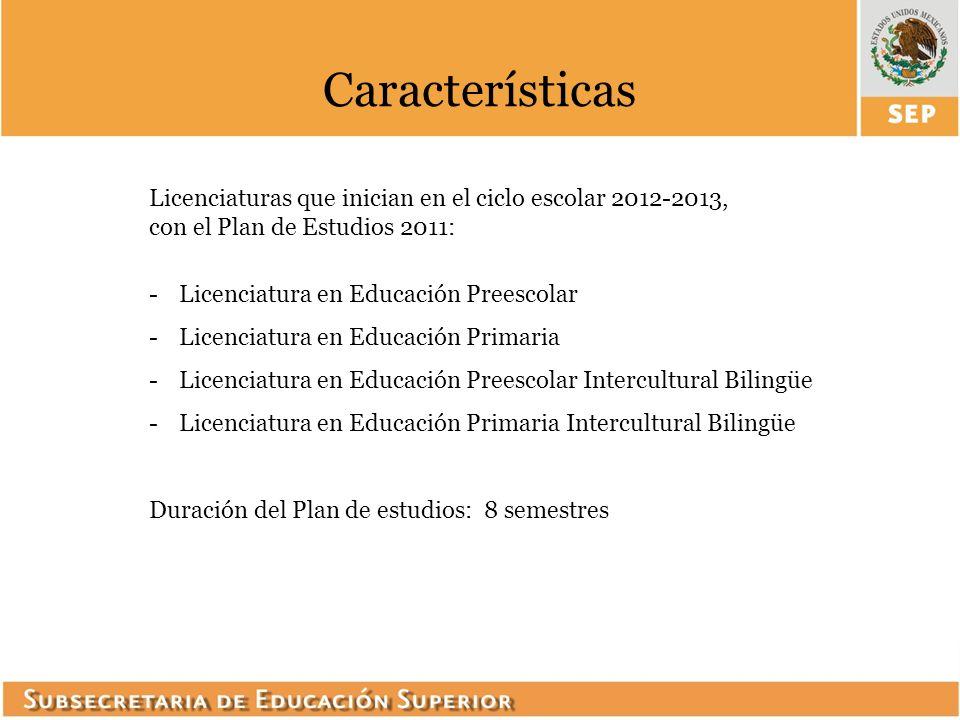 Características Licenciaturas que inician en el ciclo escolar 2012-2013, con el Plan de Estudios 2011: -Licenciatura en Educación Preescolar -Licencia