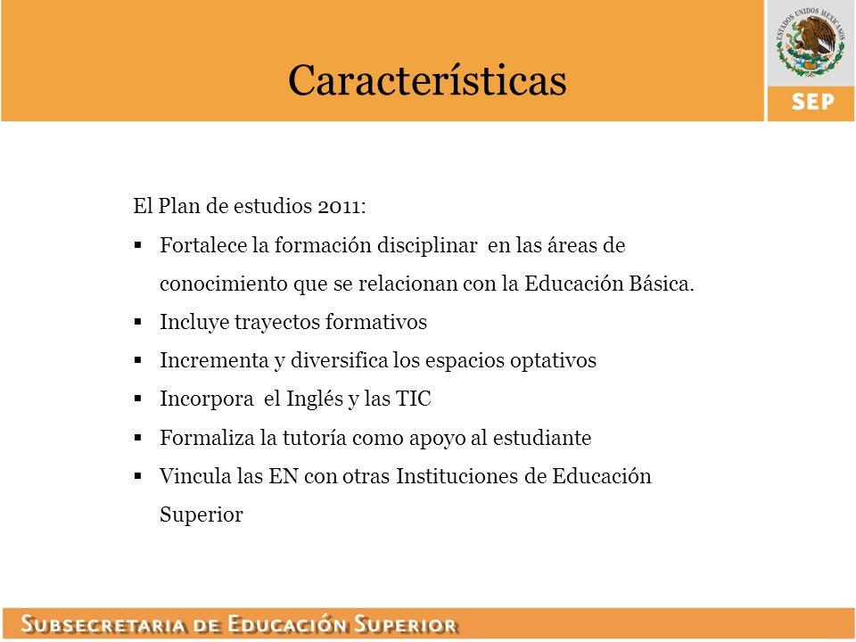 Características El Plan de estudios 2011: Fortalece la formación disciplinar en las áreas de conocimiento que se relacionan con la Educación Básica. I