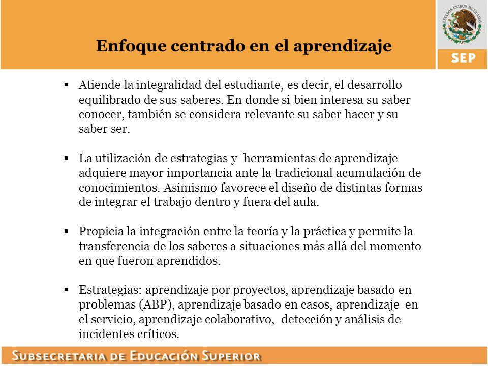 Enfoque basado en competencias Las competencias tienen un carácter holístico e integrado.
