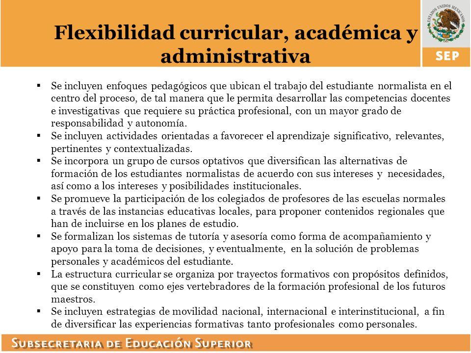 Flexibilidad curricular, académica y administrativa Se incluyen enfoques pedagógicos que ubican el trabajo del estudiante normalista en el centro del