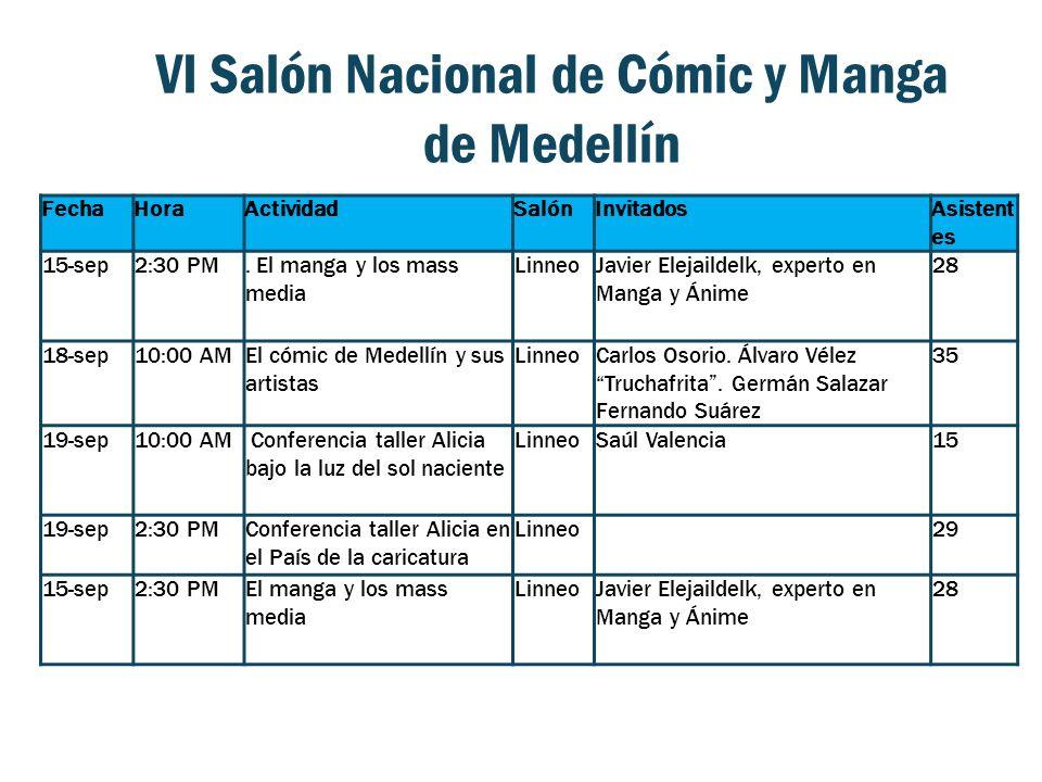 VI Salón Nacional de Cómic y Manga de Medellín FechaHoraActividadSalónInvitadosAsistent es 15-sep2:30 PM. El manga y los mass media LinneoJavier Eleja