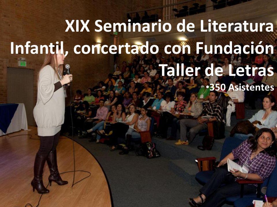 XIX Seminario de Literatura Infantil, concertado con Fundación Taller de Letras 350 Asistentes