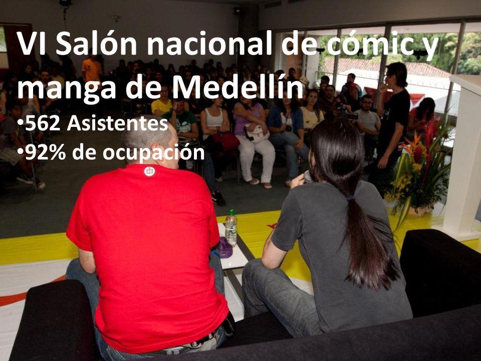 VI Salón nacional de cómic y manga de Medellín 562 Asistentes 92% de ocupación