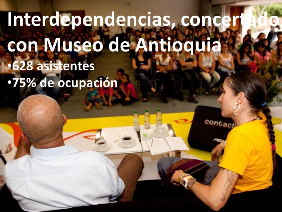 Interdependencias, concertado con Museo de Antioquia 628 asistentes 75% de ocupación