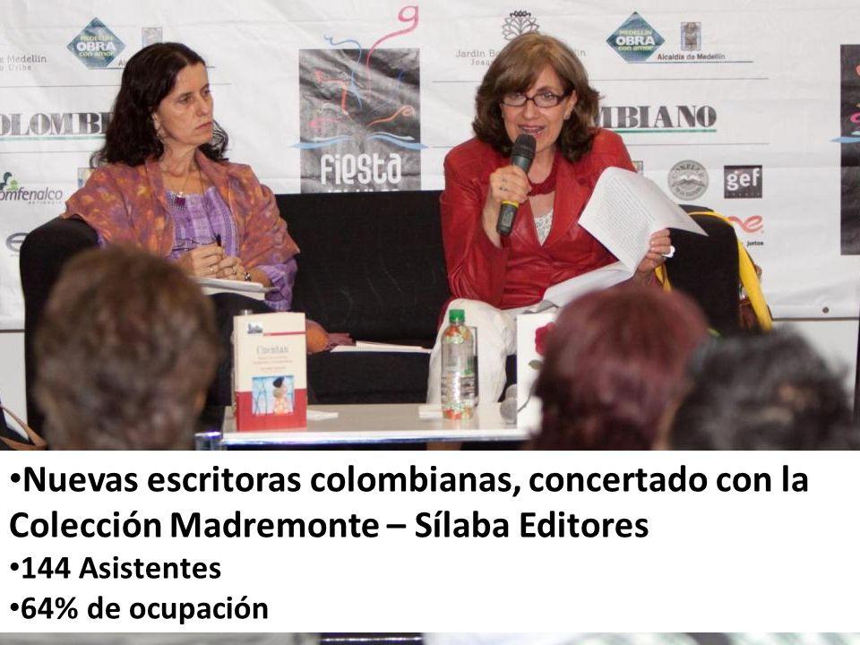 Nuevas escritoras colombianas, concertado con la Colección Madremonte – Sílaba Editores 144 Asistentes 64% de ocupación