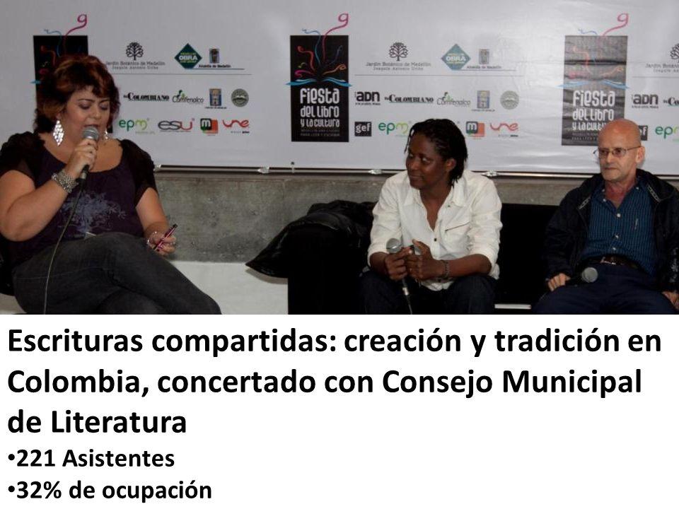 Escrituras compartidas: creación y tradición en Colombia, concertado con Consejo Municipal de Literatura 221 Asistentes 32% de ocupación