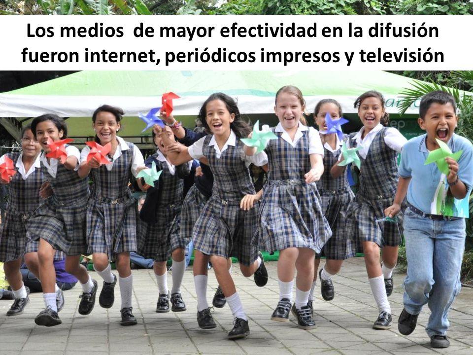 Los medios de mayor efectividad en la difusión fueron internet, periódicos impresos y televisión