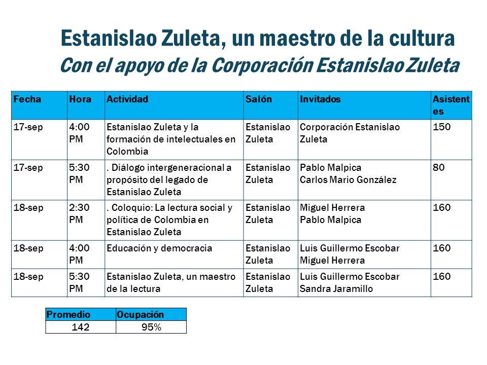 Estanislao Zuleta, un maestro de la cultura Con el apoyo de la Corporación Estanislao Zuleta FechaHoraActividadSalónInvitadosAsistent es 17-sep4:00 PM Estanislao Zuleta y la formación de intelectuales en Colombia Estanislao Zuleta Corporación Estanislao Zuleta 150 17-sep5:30 PM.
