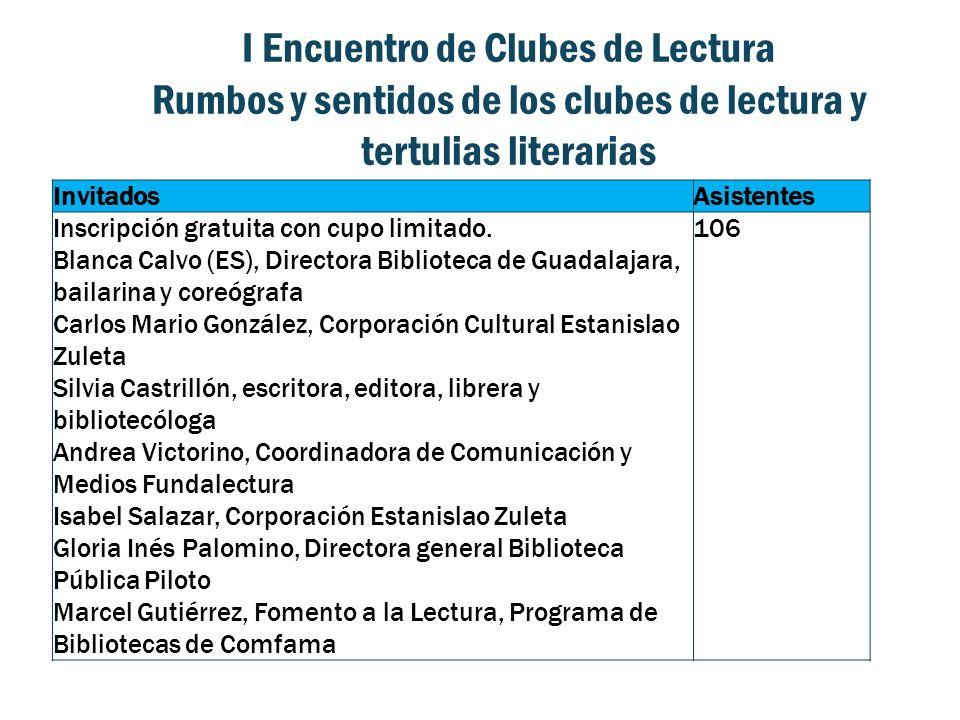 I Encuentro de Clubes de Lectura Rumbos y sentidos de los clubes de lectura y tertulias literarias InvitadosAsistentes Inscripción gratuita con cupo limitado.