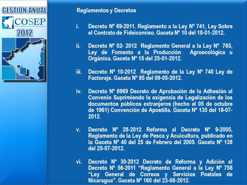 Reglamentos y Decretos i. i.Decreto Nº 69-2011. Reglamento a la Ley Nº 741, Ley Sobre el Contrato de Fideicomiso. Gaceta Nº 10 del 18-01-2012. ii. ii.