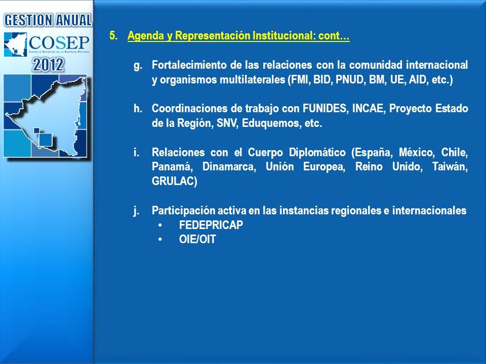 5.Agenda y Representación Institucional: cont… g.Fortalecimiento de las relaciones con la comunidad internacional y organismos multilaterales (FMI, BI