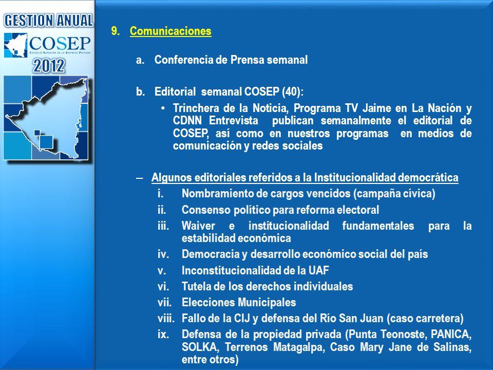 9. 9.Comunicaciones a. a.Conferencia de Prensa semanal b. b.Editorial semanal COSEP (40): Trinchera de la Noticia, Programa TV Jaime en La Nación y CD
