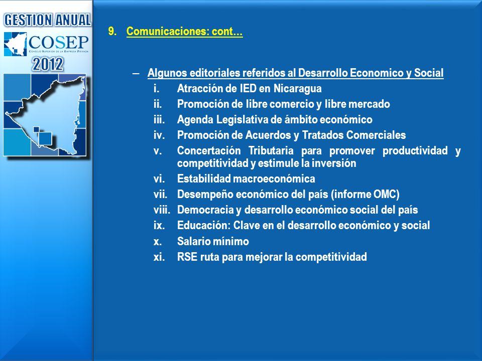9. 9.Comunicaciones: cont… – – Algunos editoriales referidos al Desarrollo Economico y Social i. i.Atracción de IED en Nicaragua ii. ii.Promoción de l
