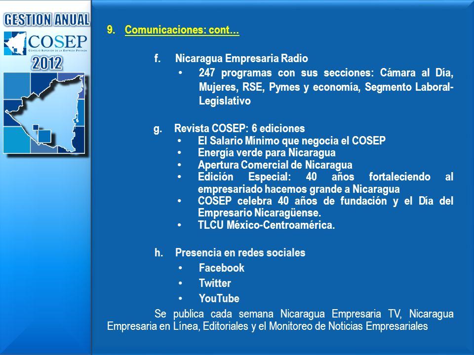 9.Comunicaciones: cont… f.Nicaragua Empresaria Radio 247 programas con sus secciones: Cámara al Día, Mujeres, RSE, Pymes y economía, Segmento Laboral-