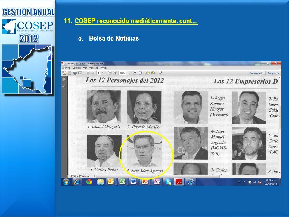 11.COSEP reconocido mediáticamente: cont… e.Bolsa de Noticias