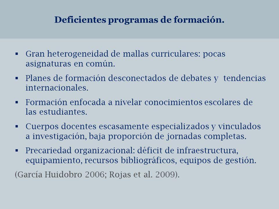 Deficientes programas de formación.