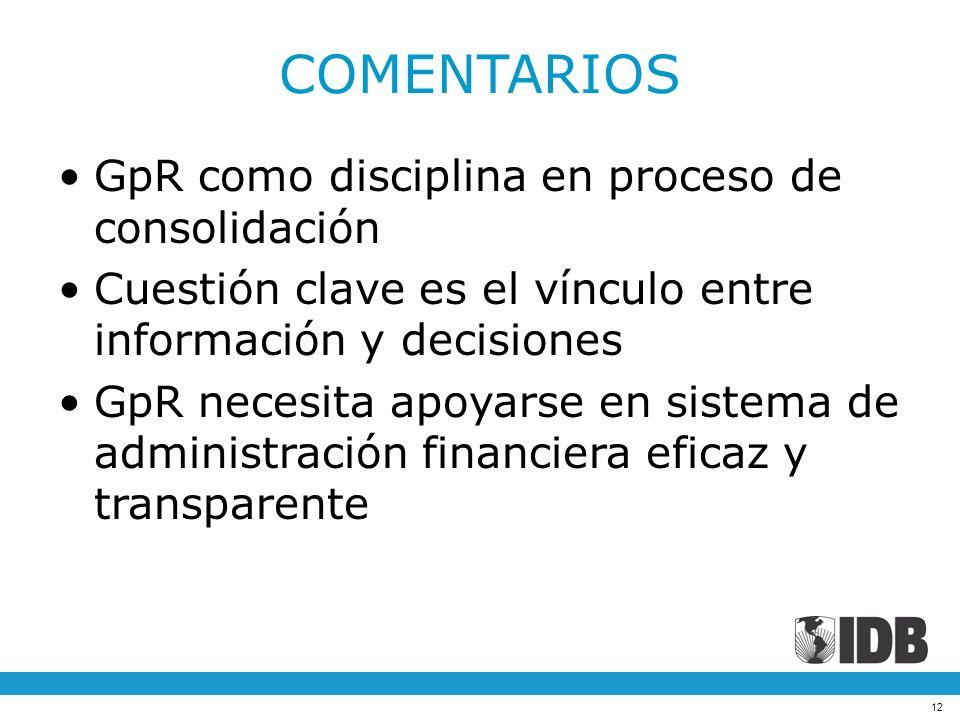 12 COMENTARIOS GpR como disciplina en proceso de consolidación Cuestión clave es el vínculo entre información y decisiones GpR necesita apoyarse en si