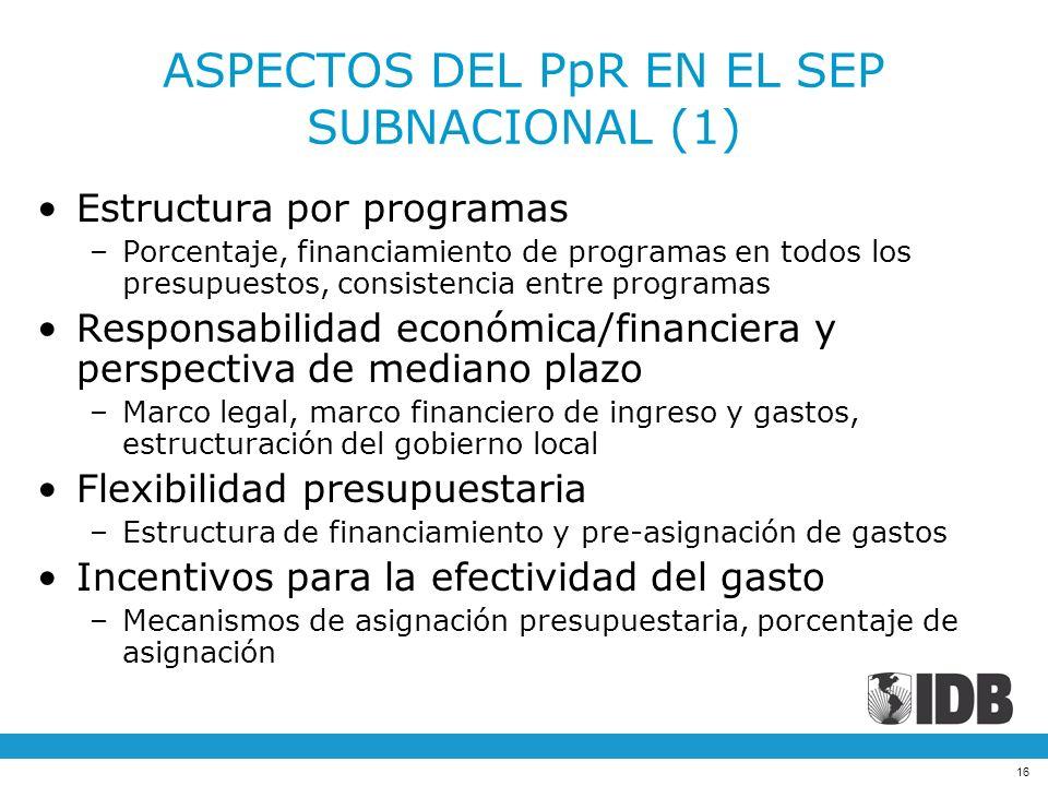 16 ASPECTOS DEL PpR EN EL SEP SUBNACIONAL (1) Estructura por programas –Porcentaje, financiamiento de programas en todos los presupuestos, consistenci