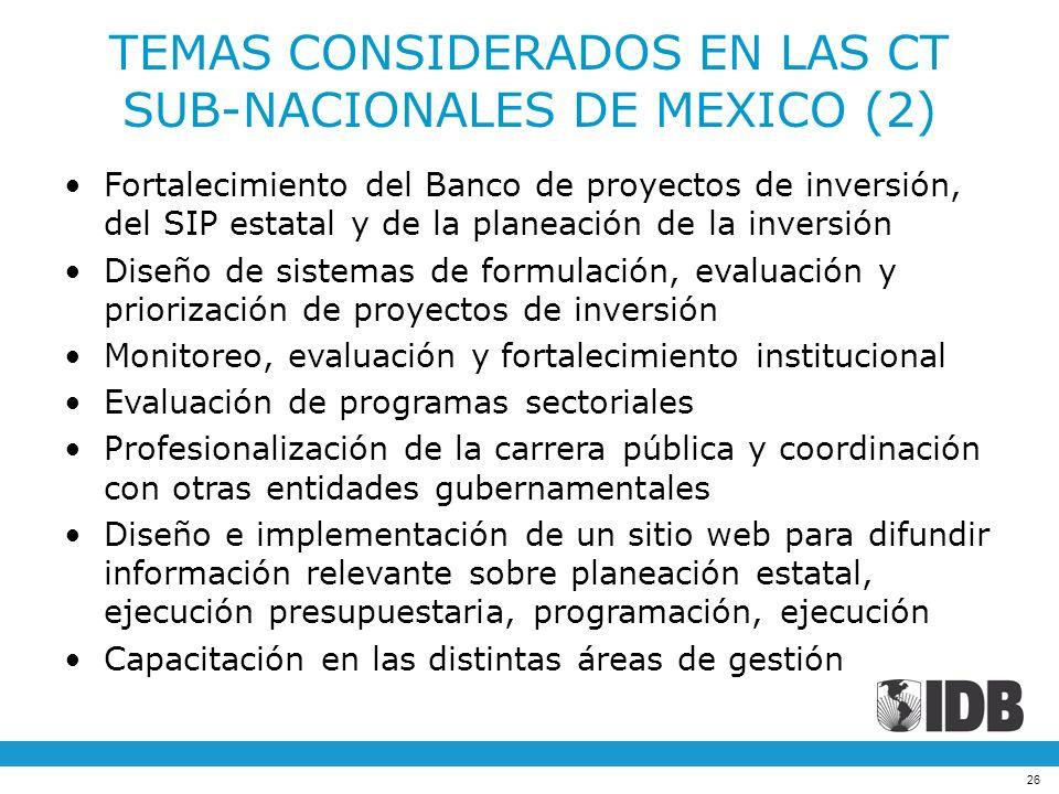 26 TEMAS CONSIDERADOS EN LAS CT SUB-NACIONALES DE MEXICO (2) Fortalecimiento del Banco de proyectos de inversión, del SIP estatal y de la planeación d