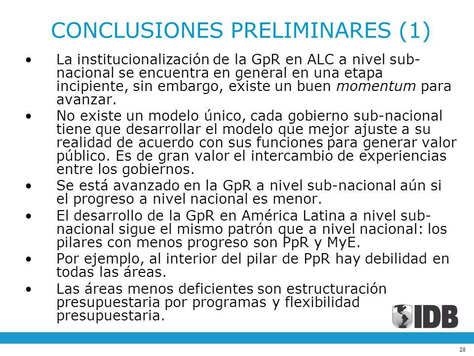 28 La institucionalización de la GpR en ALC a nivel sub- nacional se encuentra en general en una etapa incipiente, sin embargo, existe un buen momentu