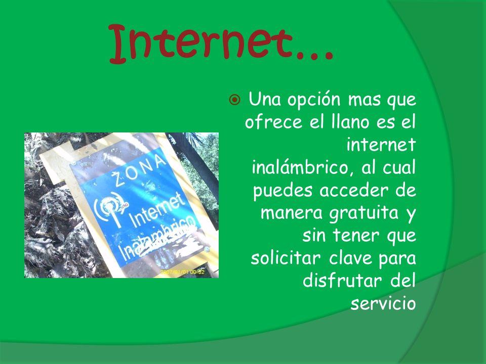 Internet… Una opción mas que ofrece el llano es el internet inalámbrico, al cual puedes acceder de manera gratuita y sin tener que solicitar clave par