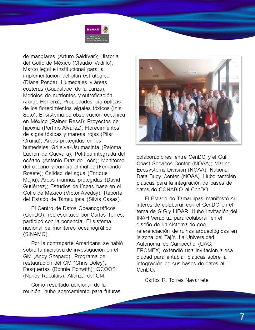 de manglares (Arturo Saldívar); Historia del Golfo de México (Claudio Vadillo); Marco legal e institucional para la implementación del plan estratégic