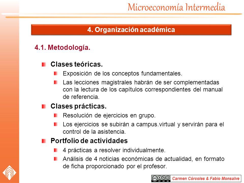 4.1. Metodología. 4. Organización académica Clases teóricas. Exposición de los conceptos fundamentales. Las lecciones magistrales habrán de ser comple