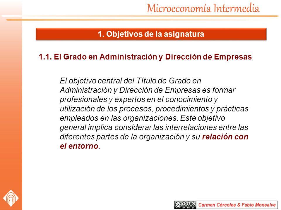 1.1. El Grado en Administración y Dirección de Empresas El objetivo central del Título de Grado en Administración y Dirección de Empresas es formar pr