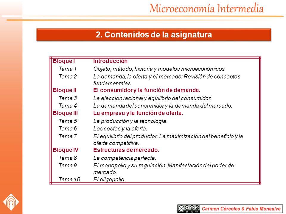 2. Contenidos de la asignatura Bloque IIntroducción Tema 1Objeto, método, historia y modelos microeconómicos. Tema 2La demanda, la oferta y el mercado