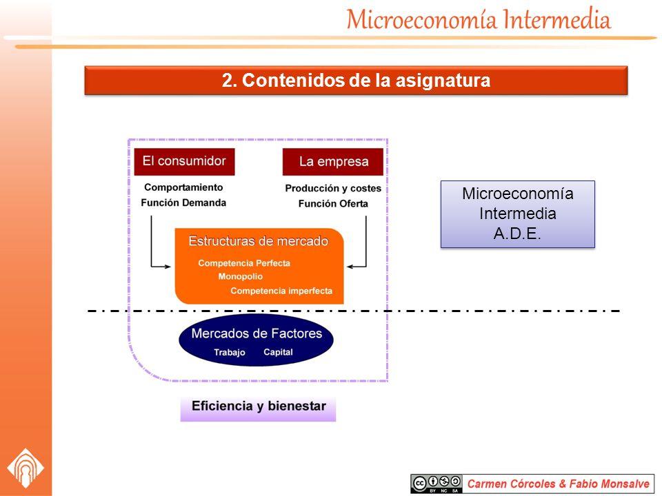 2. Contenidos de la asignatura Microeconomía Intermedia A.D.E. Microeconomía Intermedia A.D.E.