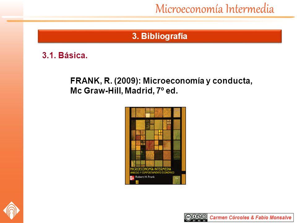3.1. Básica. FRANK, R. (2009): Microeconomía y conducta, Mc Graw-Hill, Madrid, 7º ed. 3. Bibliografía
