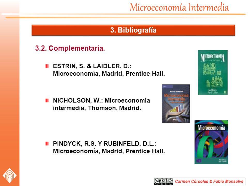 3.2. Complementaria. 3. Bibliografía ESTRIN, S. & LAIDLER, D.: Microeconomía, Madrid, Prentice Hall. NICHOLSON, W.: Microeconomía intermedia, Thomson,