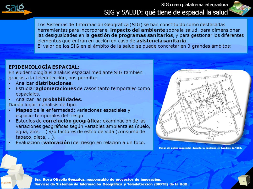 2 SIG como plataforma integradora SIG y SALUD: qué tiene de espacial la salud Sra. Rosa Olivella González, responsable de proyectos de innovación. Ser
