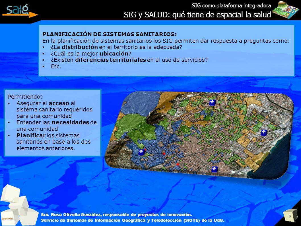 3 SIG como plataforma integradora SIG y SALUD: qué tiene de espacial la salud Sra. Rosa Olivella González, responsable de proyectos de innovación. Ser
