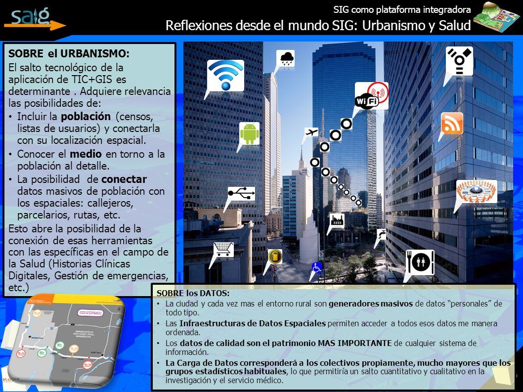 SIG como plataforma integradora Reflexiones desde el mundo SIG: Urbanismo y Salud SOBRE el URBANISMO: El salto tecnológico de la aplicación de TIC+GIS