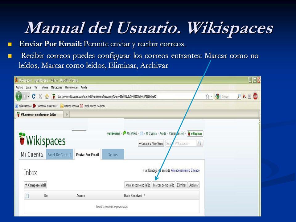 Manual del Usuario. Wikispaces Enviar Por Email: Permite enviar y recibir correos. Enviar Por Email: Permite enviar y recibir correos. Recibir correos
