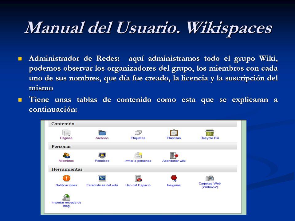 Administrador de Redes: aquí administramos todo el grupo Wiki, podemos observar los organizadores del grupo, los miembros con cada uno de sus nombres,