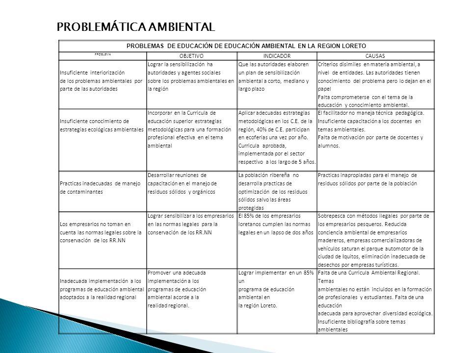 PROBLEMÁTICA AMBIENTAL PROBLEMAS DE EDUCACIÓN DE EDUCACIÓN AMBIENTAL EN LA REGION LORETO PROBLEMA OBJETIVOINDICADORCAUSAS Insuficiente interiorización