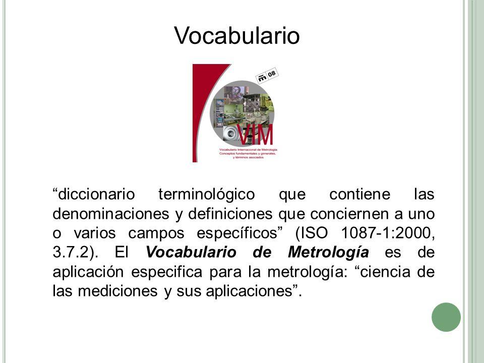 AñoVocabularioAcciónOrganizaciones 1993VIM 2 (E)BIPM publica la versión en ingles del VIM 3BIPMBIPM, IEC, OIML, IUPAP, IUPAC, ISO, IFCCIECOIMLIUPAP IUPACISOIFCC VIM 2 Vocabulario Internacional de Términos Fundamentales y Generales de Metrología 1997NMX-Z-055- 1997 Se publica la Norma Mexicana basada en el VIM 2IMNC 1997Proyecto VIM 3 (E) (F) Comienza preparación de nueva versión del VIM 3, ediciones en ingles y francés Mismos + ILAC (2005)ILAC 2006Proyecto VIM 3 (edes) Borrador de la versión en español del VIM 3CENAM 2007VIM 3 (E) (F)BIPM publica nueva versión del VIM 3BIPM 2008VIM 3 (edes)BIPM publica nueva versión VIM 3 (edes)CENAM, CEM, otros VIM 3 Vocabulario Internacional de Metrología Conceptos fundamentales y generales, y términos asociados Se considera que no hay diferencia en los principios de las mediciones realizadas en física, química, medicina, biología o ingeniería.