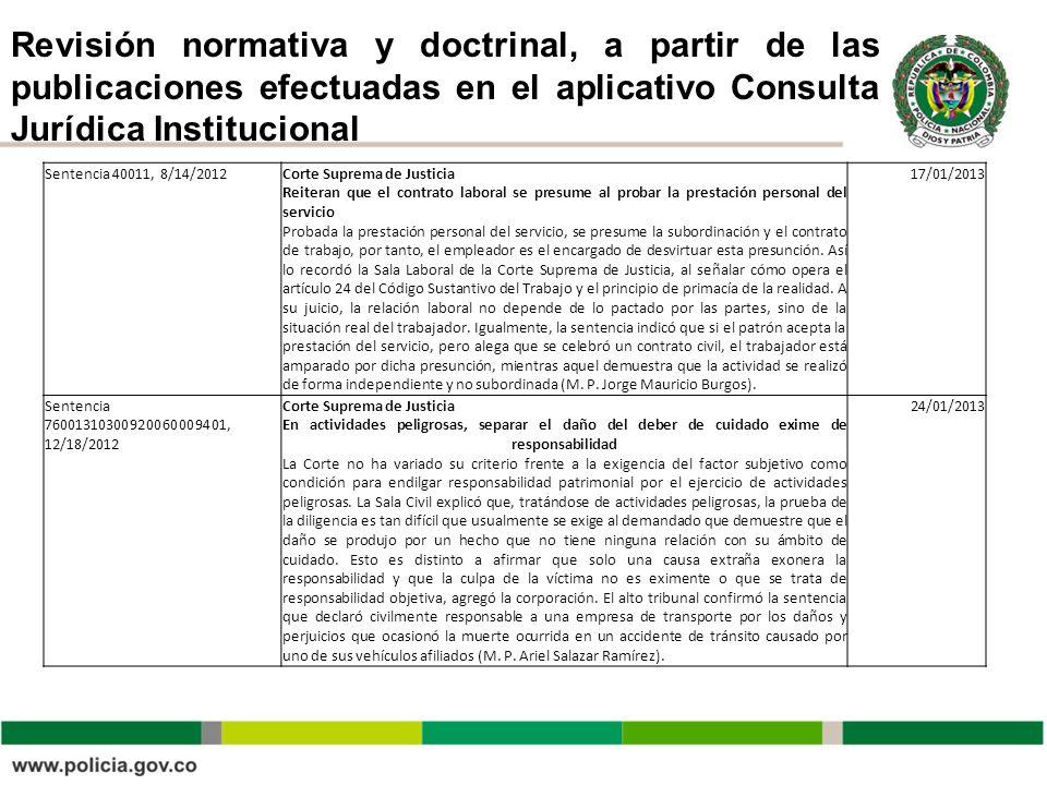 Revisión normativa y doctrinal, a partir de las publicaciones efectuadas en el aplicativo Consulta Jurídica Institucional Sentencia 40011, 8/14/2012Co