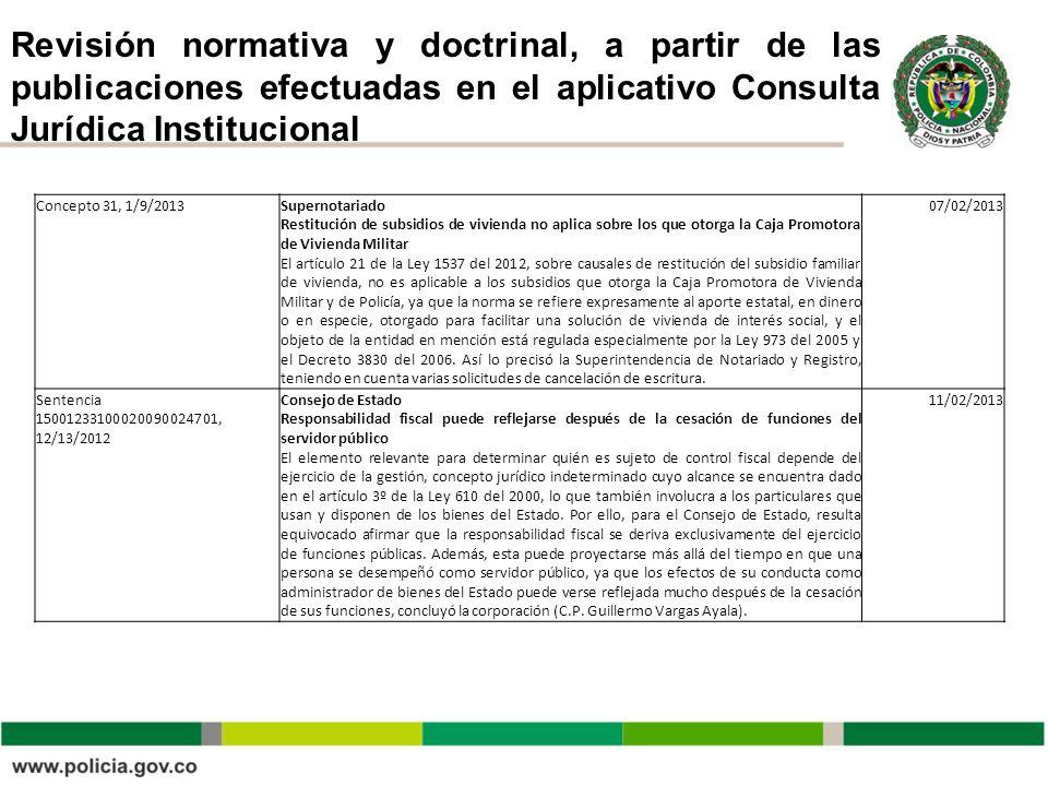 Revisión normativa y doctrinal, a partir de las publicaciones efectuadas en el aplicativo Consulta Jurídica Institucional Concepto 31, 1/9/2013Superno