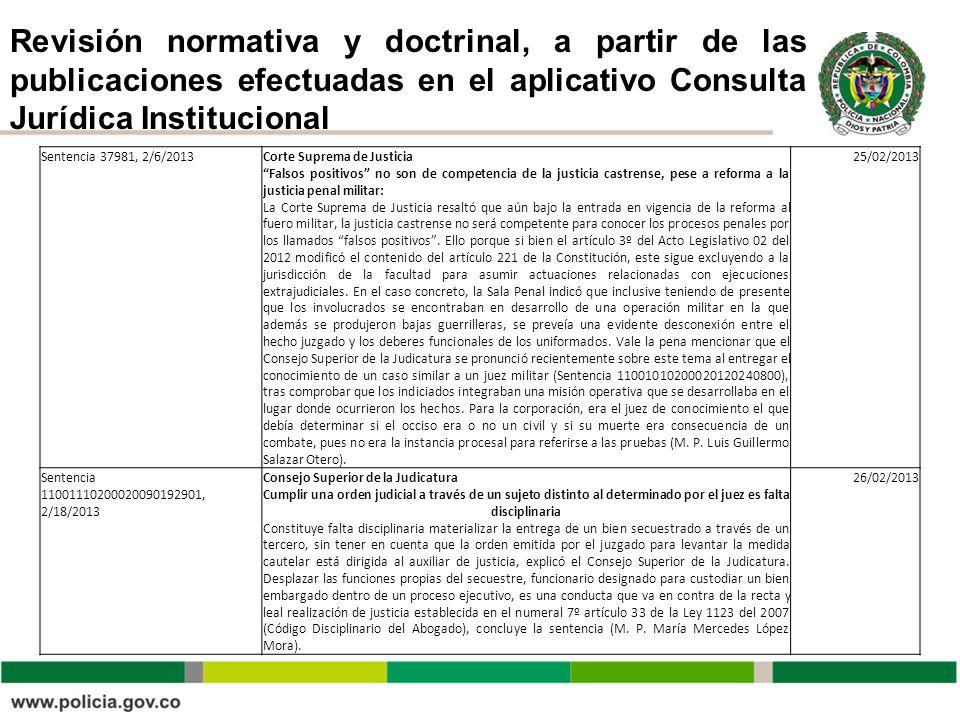 Revisión normativa y doctrinal, a partir de las publicaciones efectuadas en el aplicativo Consulta Jurídica Institucional Sentencia 37981, 2/6/2013Cor