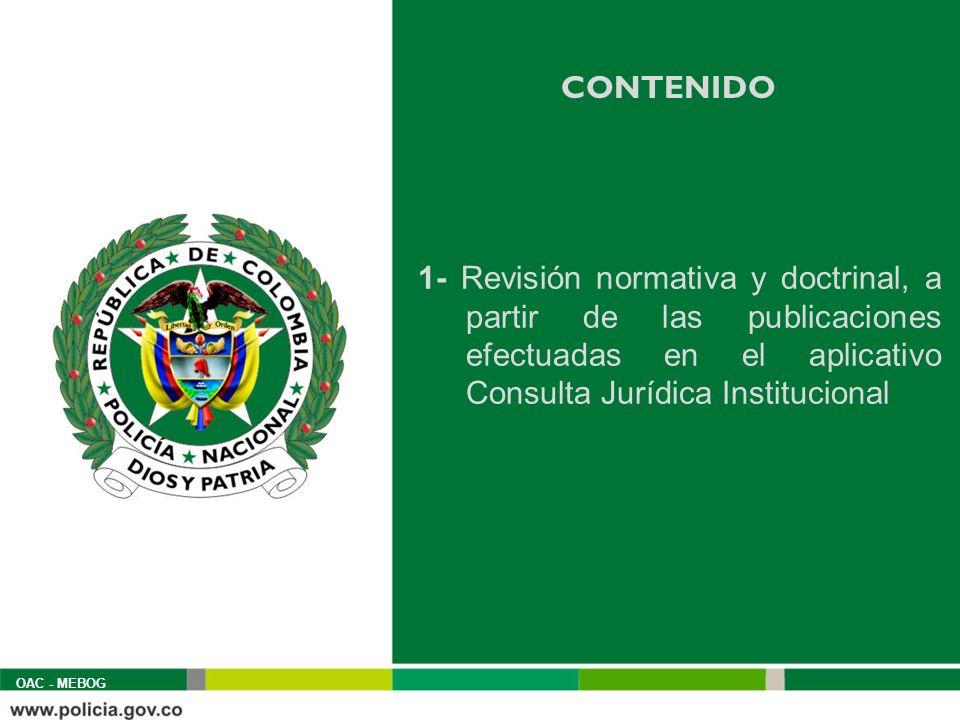 CONTENIDO 1- Revisión normativa y doctrinal, a partir de las publicaciones efectuadas en el aplicativo Consulta Jurídica Institucional OAC - MEBOG