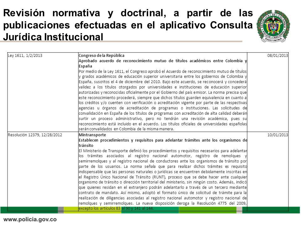 Revisión normativa y doctrinal, a partir de las publicaciones efectuadas en el aplicativo Consulta Jurídica Institucional Ley 1611, 1/2/2013Congreso d