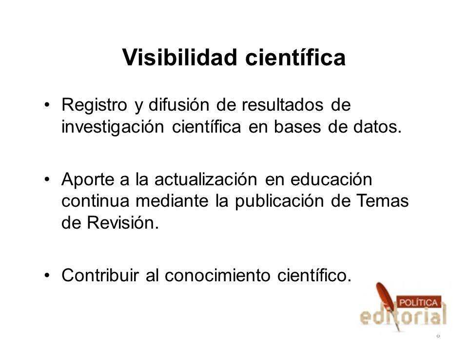Visibilidad científica Registro y difusión de resultados de investigación científica en bases de datos. Aporte a la actualización en educación continu