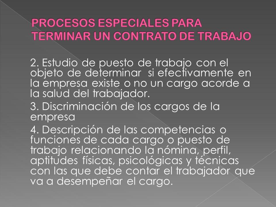 2. Estudio de puesto de trabajo con el objeto de determinar si efectivamente en la empresa existe o no un cargo acorde a la salud del trabajador. 3. D