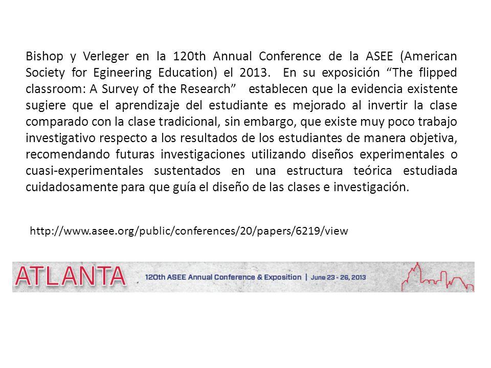 Bishop y Verleger en la 120th Annual Conference de la ASEE (American Society for Egineering Education) el 2013.
