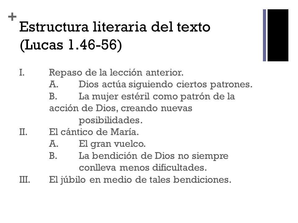 + Estructura literaria del texto (Lucas 1.46-56) I.Repaso de la lección anterior. A.Dios actúa siguiendo ciertos patrones. B.La mujer estéril como pat