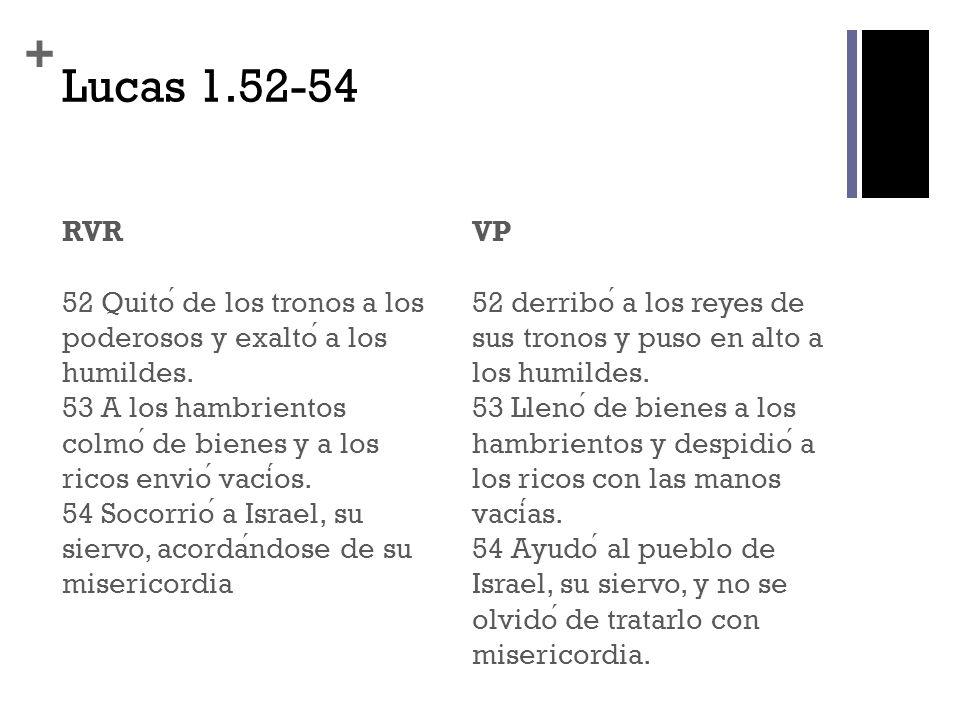 + Lucas 1.52-54 RVR 52 Quito de los tronos a los poderosos y exalto a los humildes. 53 A los hambrientos colmo de bienes y a los ricos envio vacios. 5