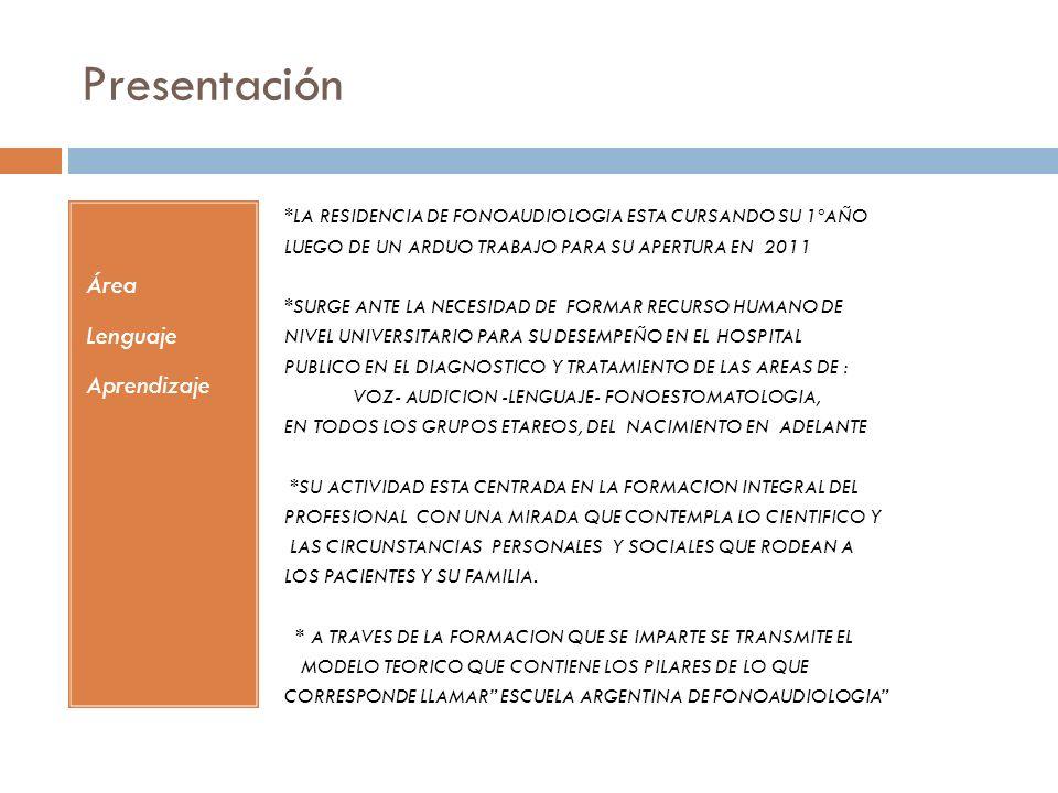 Presentación Área Lenguaje Aprendizaje *LA RESIDENCIA DE FONOAUDIOLOGIA ESTA CURSANDO SU 1ºAÑO LUEGO DE UN ARDUO TRABAJO PARA SU APERTURA EN 2011 *SURGE ANTE LA NECESIDAD DE FORMAR RECURSO HUMANO DE NIVEL UNIVERSITARIO PARA SU DESEMPEÑO EN EL HOSPITAL PUBLICO EN EL DIAGNOSTICO Y TRATAMIENTO DE LAS AREAS DE : VOZ- AUDICION -LENGUAJE- FONOESTOMATOLOGIA, EN TODOS LOS GRUPOS ETAREOS, DEL NACIMIENTO EN ADELANTE *SU ACTIVIDAD ESTA CENTRADA EN LA FORMACION INTEGRAL DEL PROFESIONAL CON UNA MIRADA QUE CONTEMPLA LO CIENTIFICO Y LAS CIRCUNSTANCIAS PERSONALES Y SOCIALES QUE RODEAN A LOS PACIENTES Y SU FAMILIA.